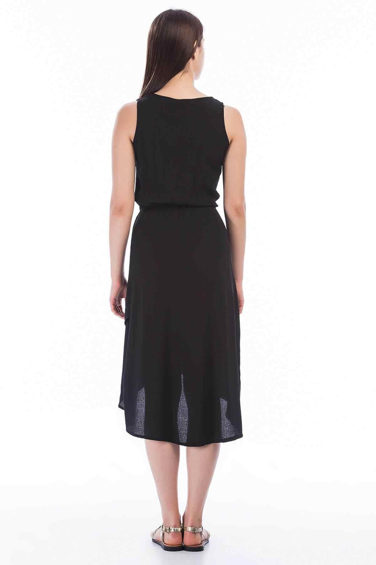 Coton humeur femmes noir tissu jupe avant Double boutonnage sans manches robe 8282690