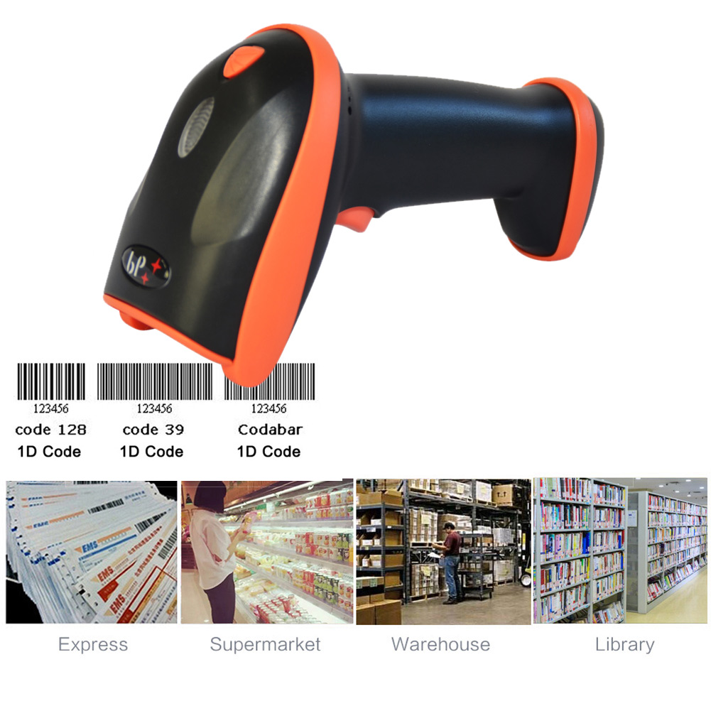 New Bluetooth Wireless Laser Barcode Scanner Rechargeable Handheld Cordless Bar Code Reader For POS Inventory QJY99 wireless laser barcode scanner 32 bit with memory easy charging cordless bar code reader for pos and inventory rd h2