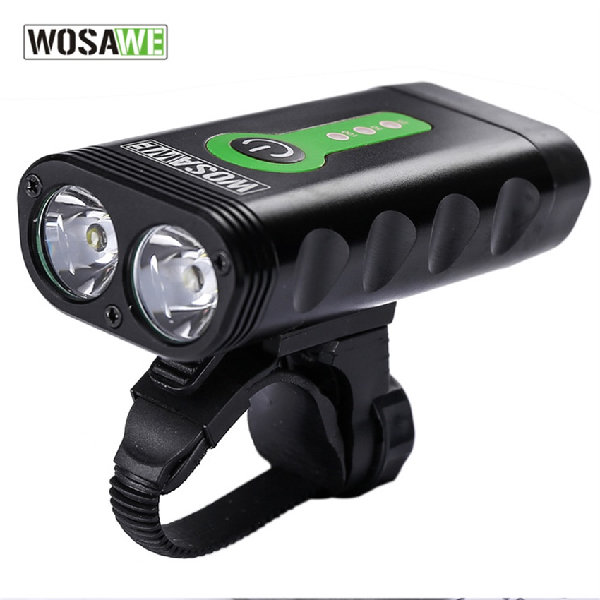 WOSAWE USB Rechargeable Bicycle Flashlight 2400 Lumens with Built-in Battery Rotate Bike Cycling Light 2-XML-3 LED Lamp 5 Modes