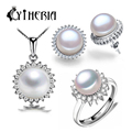 CYTHERIA  natural Pearl set, jewelry sets  silver pearl pendant necklace and earrings for women