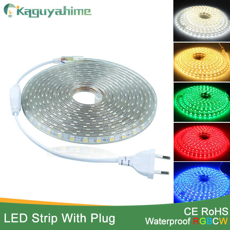 Kaguyahime led strip 1M~25M EVO SMD5050 AC220V LED Strip Flexible Light 60leds/m Waterproof Led Tape LED Light With Power Plug