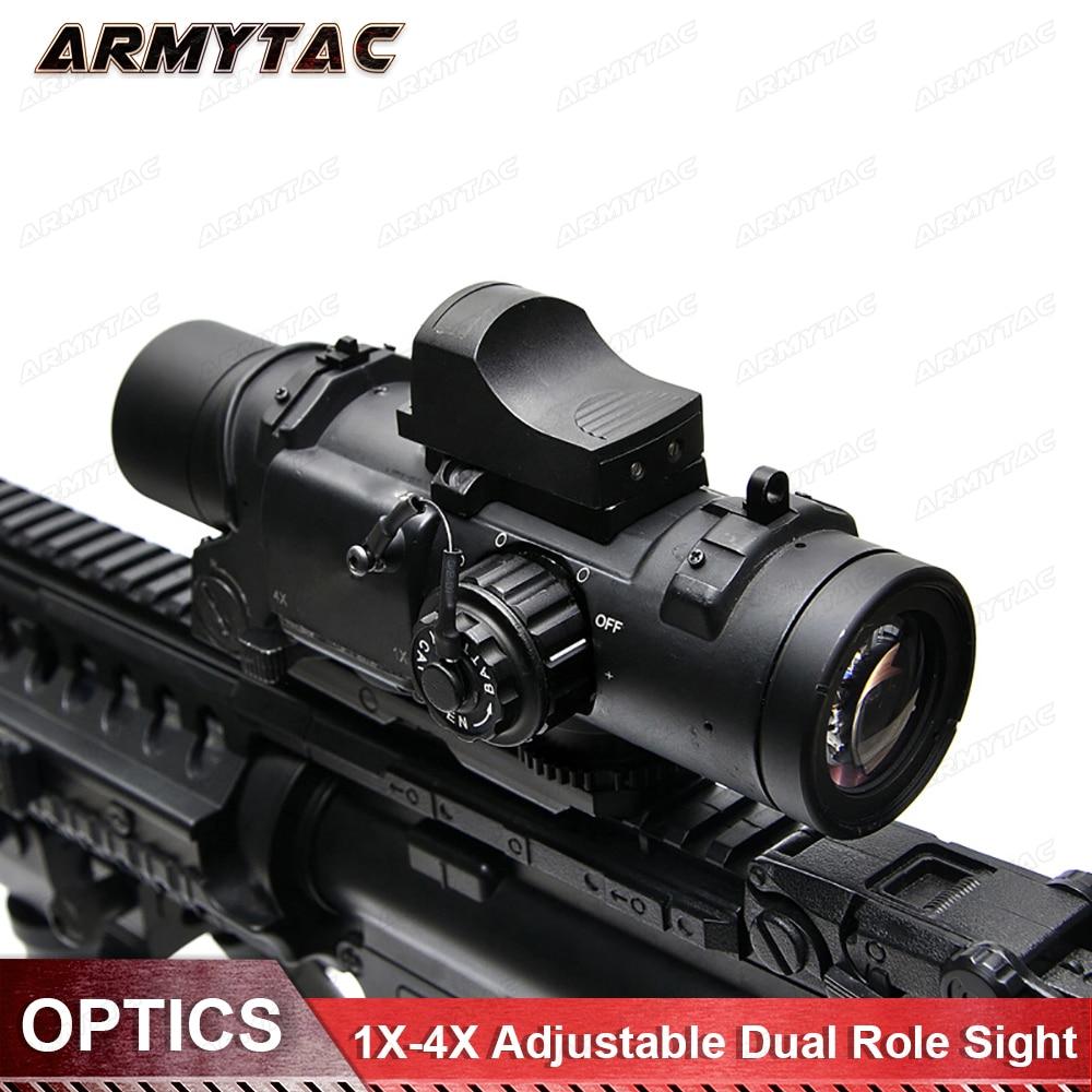 Tactical Rifle Scope Riflescope 1-4x DR Quick Destacável 1X-4X Ajustável Duplo Papel Visão Airsoft Magnificate Âmbito Para A Caça