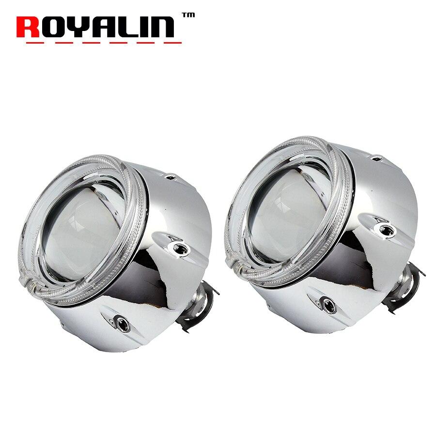 ROYALIN métal voiture 3.0 pouces projecteur phare Bi xénon H1 lentille avec 95mm blanc LED ange oeil DRL pour H4 H7 Auto lampe rénovation