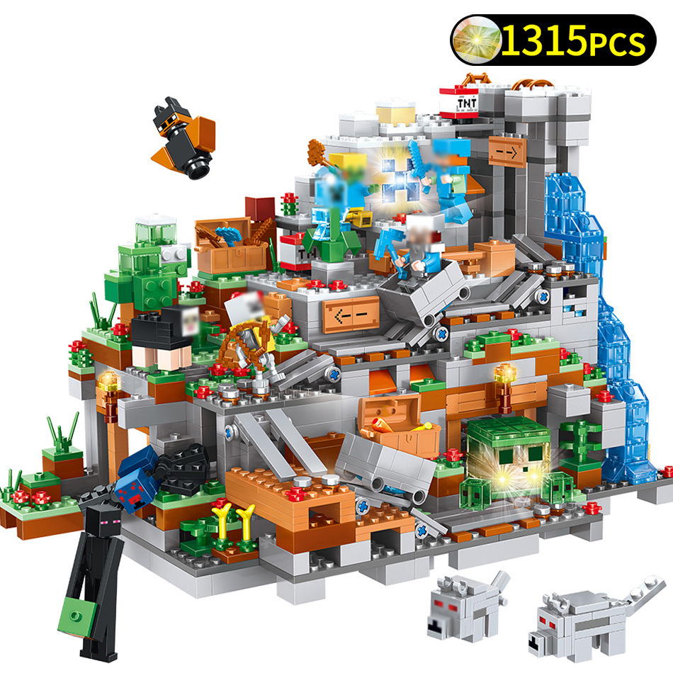 1315pcs My World Minecrafted Mountain Castle Action Figures Building Blocks Compatible Legoed Minecraft City DIY Bricks Toys Kid цена