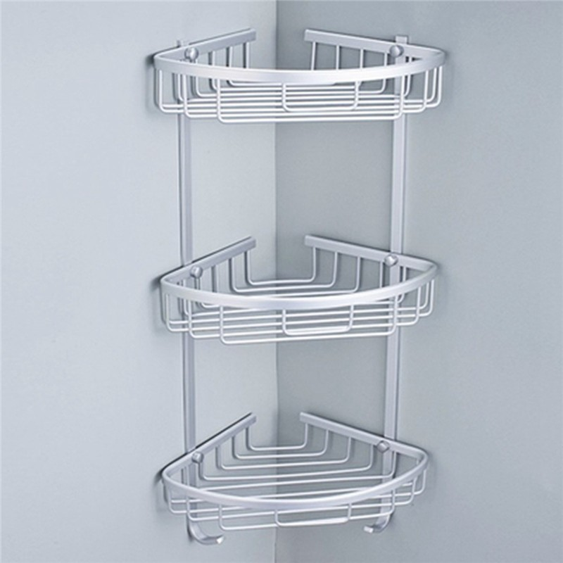 3 Sizes Space Aluminum Triangular Shower Caddy Shelf Bathroom Corner ...