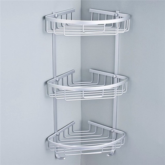 3 Sizes Space Aluminum Triangular Shower Caddy Shelf Bathroom Corner Rack Storage Stock Holder ...