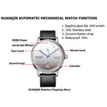 GUANQIN Mechanical Business Watch Men Top Brand Luxury Luminous 316L stainless steel Wrist Mens Automatic Watches Gold Clock