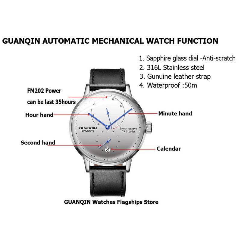 Saatler'ten Mekanik Saatler'de GUANQIN Mekanik İş İzle Erkekler Üst Marka Lüks Işık 316L paslanmaz çelik Bilek Erkek Otomatik Saatler Altın Saat'da  Grup 2