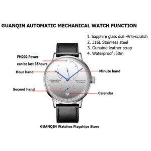 Image 2 - GUANQIN mekanik İzle erkekler İş moda otomatik saatler 316L paslanmaz çelik üst marka lüks aydınlık kol saati