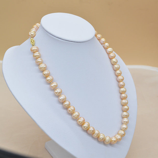 Natural 9-8 mm pink genuine South Sea Pearl necklace 14k