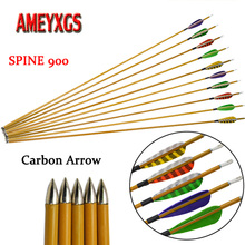 9/12pcs Archery Carbon Arrow SP 900 Mix Arrows For Compound/Recurve Bow Hunting Shooting Competition Accessories