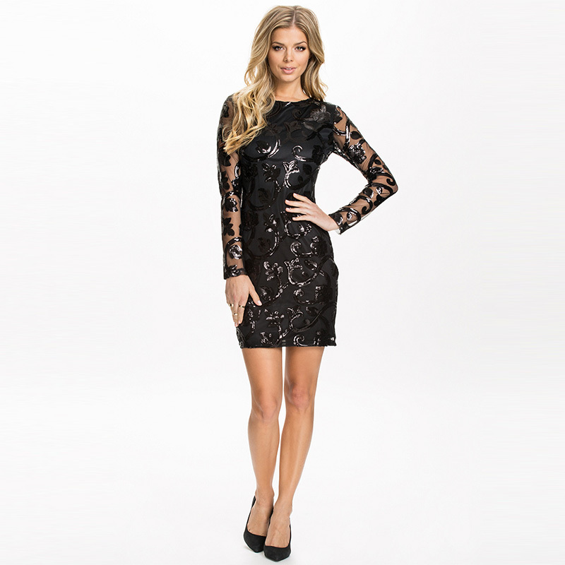Rh70205 Brocade Sequin Short Dress Sheer Black Long Sleeve Sexy