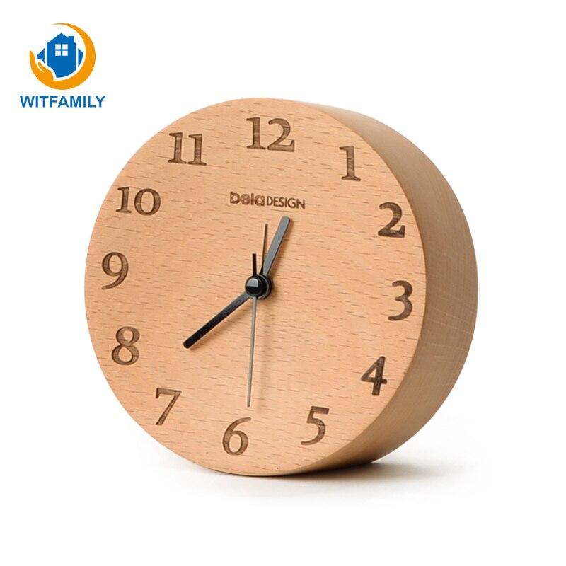 Réveil en bois pointeur muet chevet étudiant réveil nordique maison bureau bureau décoration bois petite pendule horloge
