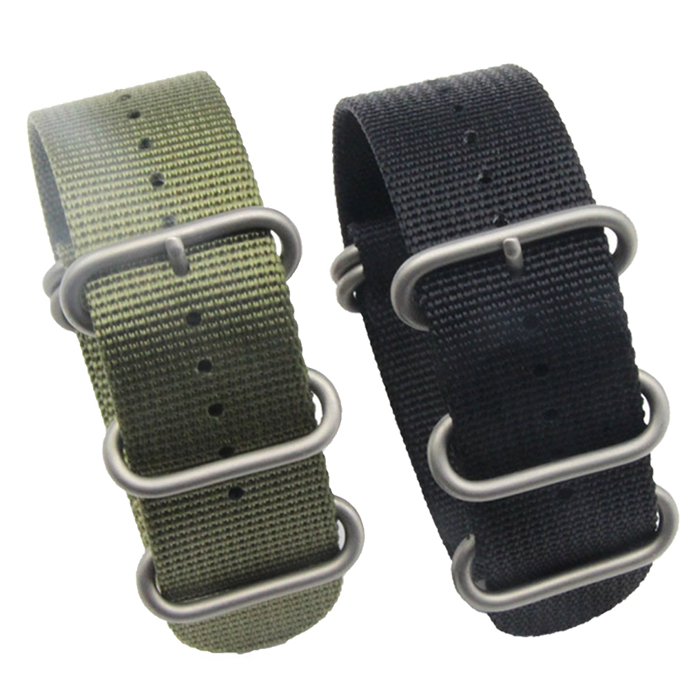 26mm Nylon Canvas Braided Adjustable Replacement Wrist Watch Band Strap Belt wit