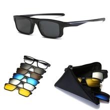 KJDCHD(5 lens) Clip on Sunglasses Men Women Magnetic polarized+ mirrored Sun Glasses for myopia day Night Driving TR90 frame