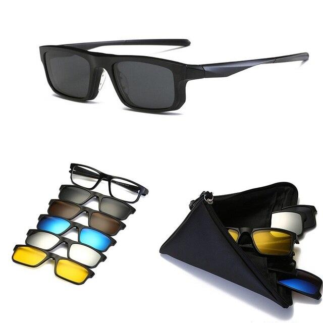 KJDCHD (5 عدسة) كليب على النظارات الشمسية الرجال النساء المغناطيسي الاستقطاب + مرآة نظارات شمسية لقصر النظر يوم القيادة TR90 الإطار