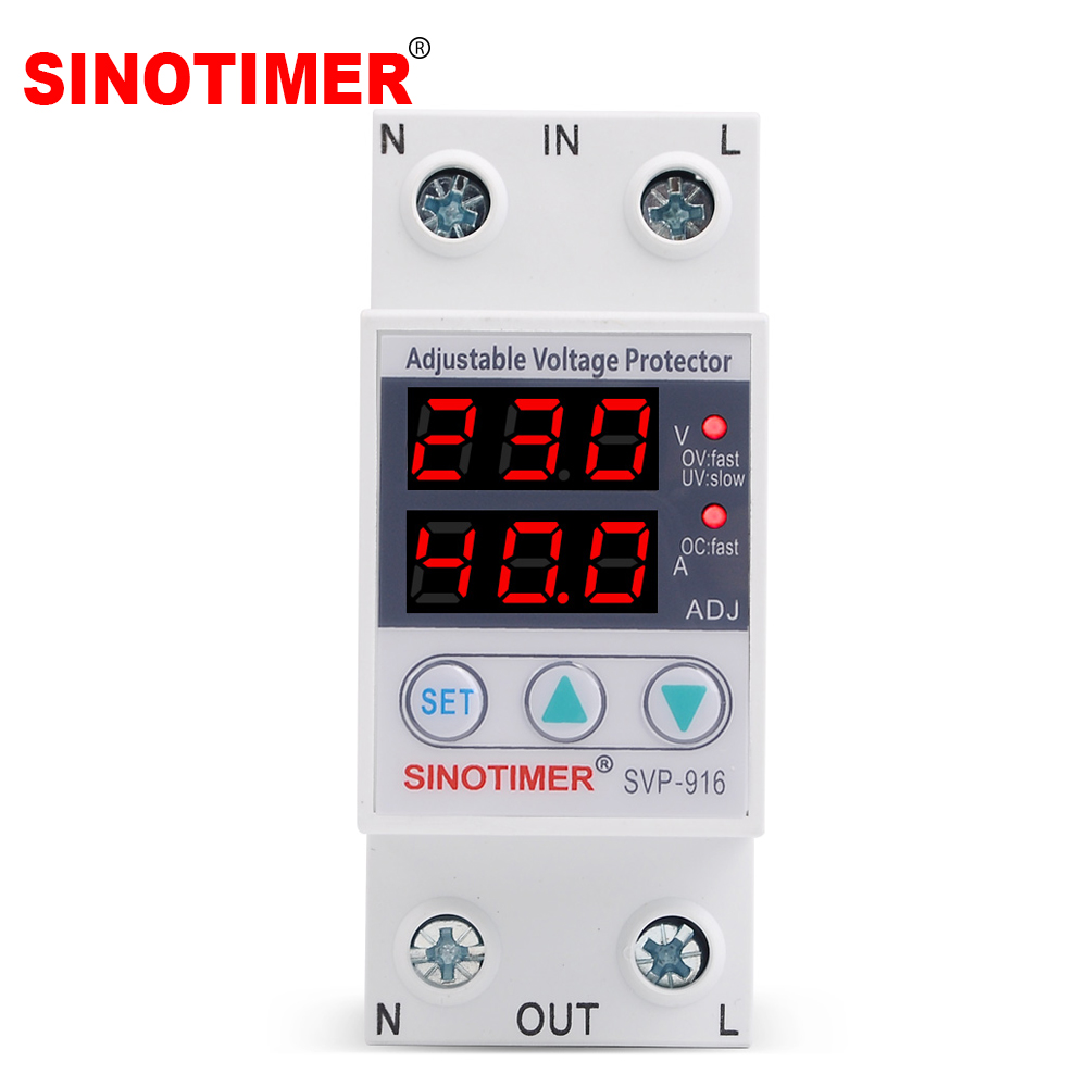 Home Usage Dual LED Display 40A 63A 80A Din Rail 230V Adjustable Voltage Surge Protector Relay with Limit Current Protection