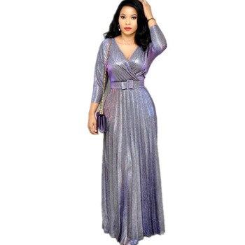 Trblietavé dlhé šaty Simdy s opaskom – viac farieb