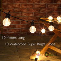 Nolvety Waterproof 10 Globe Clear Big Globe G45 Connectable Outdoor Use Festoon Party String Christmas Holiday