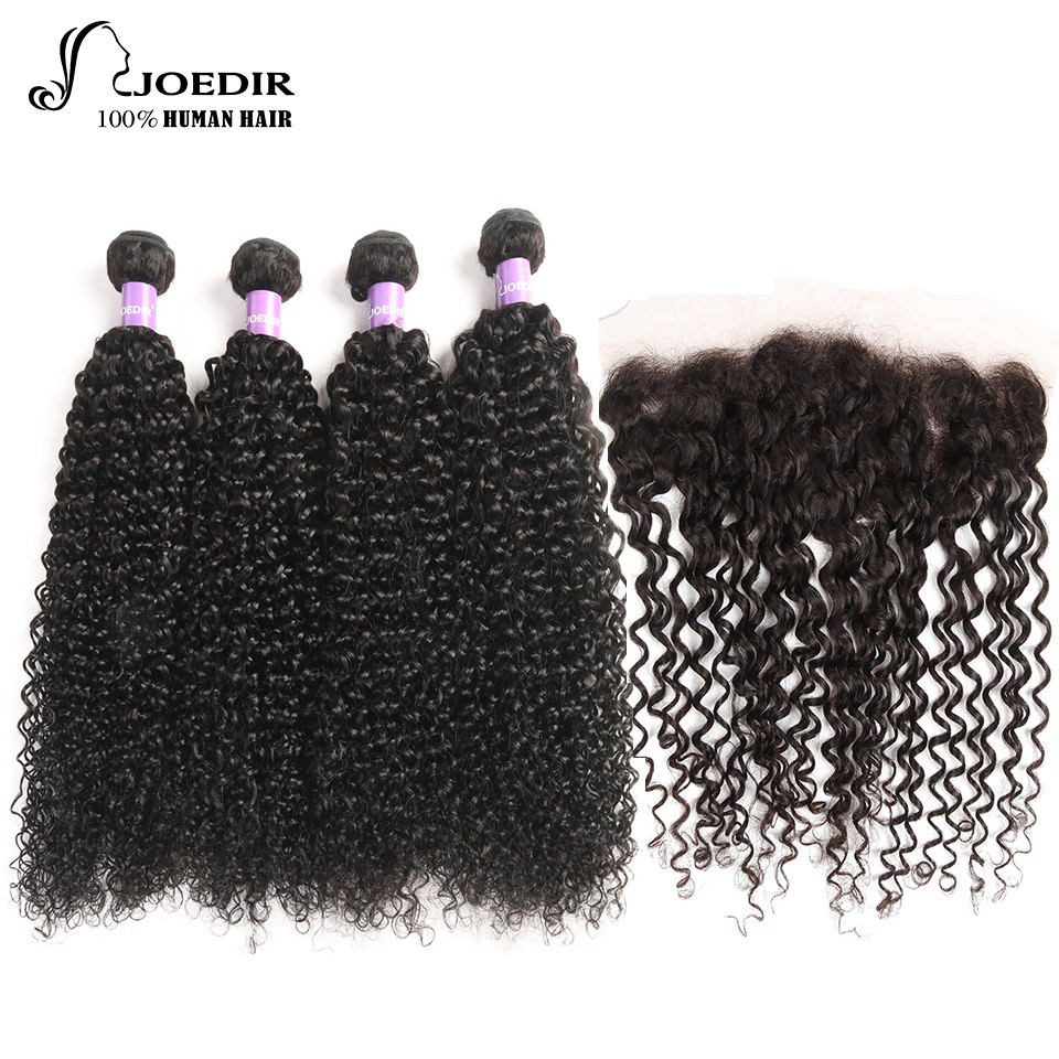 Joedir Brazilian Deep Wave Bundles With Closure Non Remy 100% Human Hair 13X4 Lace Frontal 4 Bundles With Frontal Free Shipping