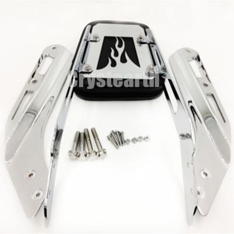 For 2003-2009 Honda VTX 1300N 1300R 1300S 1800N 1800R 1800S /2008-2009 VTX 1300T/ VTX 1800T Chrome Flame Backrest Sissy Bar Pad led brake tail light for honda vtx 1300 1800 retro 1800t 2002 2008