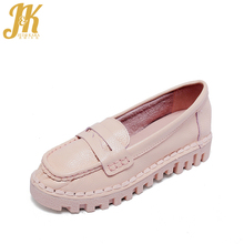 J&K 2017 Comfort Women's Vulcanize Shoes Genuine Leather Flat Shoes Woman Slip on Casual Shoes Platform Pregnant Woman Shoes