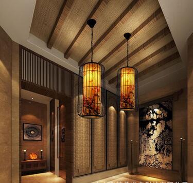 Vintage style Chinois Dragon cage à oiseaux de fer pendentif lampe pour salle à manger E27 creative décoration de baisse lumières B04