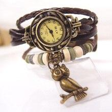 2017 Vintage ladies fashion Quartz watch women Owl Pendant hours Bead Bracelet wrist watch clock reloj mujer