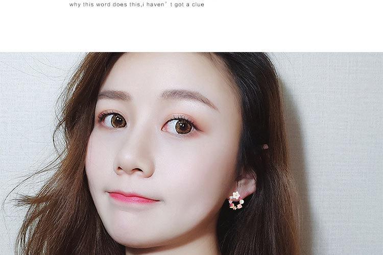 19 Fashion Korean Style Colorful Rhinestone Wreath Stud Earrings For Women Silver Sweet Small Circle Flower Earrings Jewelry 8