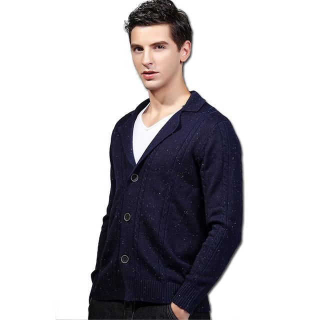 2016 Malha Suéteres e Pulôveres Cardigans Sweatercoats Hombre homens Moda Casual Slim Fit Manga Comprida Blusas PUllovers
