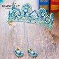 Потрясающие Blue Crystal позолоченные Принцесса Тиара Свадебные Волосы Корона Аксессуары Женщины Театрализованное Пром Головной Убор Диадемы