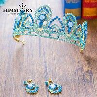 HIMSTORY Stunning Blue Crystal Công Chúa Tóc Vương Miện Đám Cưới Thái Phụ Kiện Phụ Nữ Pageant Prom Mũ Sắt Tiaras