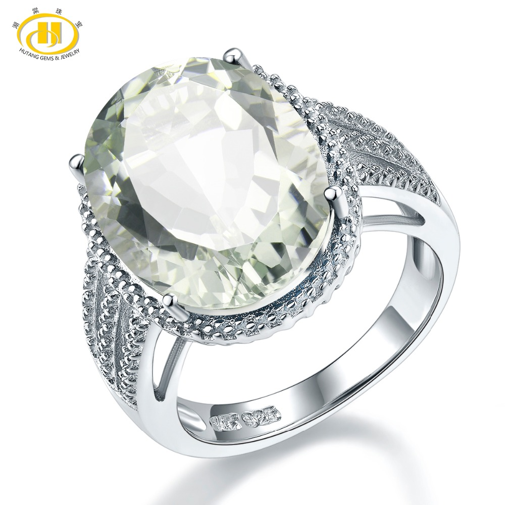 Hutang Stone Jewelry 8.5CT Natural Gemstone Green Amethyst Solid 925 Sterling Silver Engagement Ring Fine Fashion Jewelry Gift hutang engagement ring natural gemstone amethyst topaz solid 925 sterling silver heart fine fashion stone jewelry for gift new