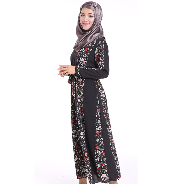 Цветочные Печатный Шифон арабских Абая с поясом одежды исламский хиджаб исламская молитва арабская одежда женщин Новый Стиль