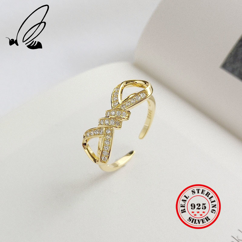 Full Zircon Bow Knot Ring 925 Sterling Silver Gold Color Sparkling Stackable Pave CZ Open Resizable Rings For Women Gift Jewelry(China)