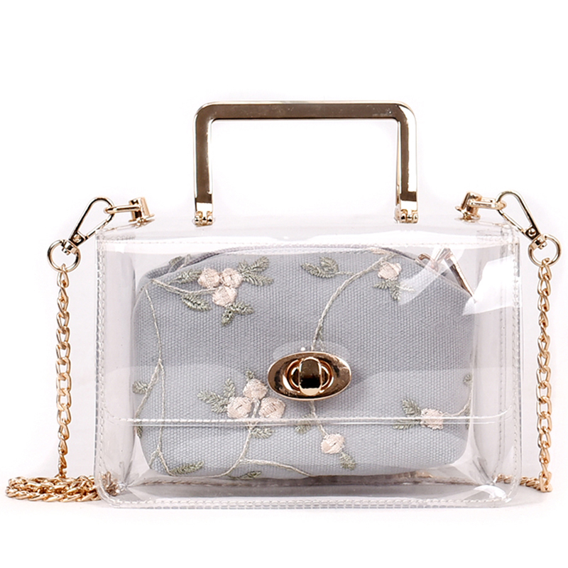 New Embroidery Jelly Small Women Messenger Bag Handbags Fash
