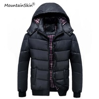 Mountainskin New Men's Winter Bomber Jackets Casual Hooded Warm Coats Solid Thermal Thick Male Parkas Men Brand Outerwears LA497