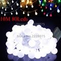 10 M LOS 33FT Pilas Bola LED Luces de la Secuencia 80 Leds para Flash de Navidad Garland Partido Decoración De La Boda de Navidad Luces de colores 4.5 V