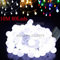 10M 33FT Battery Operated Ball LED String Lights 80 Leds for Xmas Garland Party Wedding Decor Christmas Flash Fairy Lights 4.5V