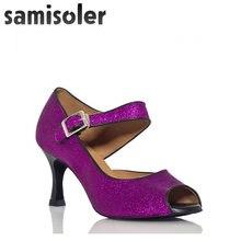 Новинка блестящие тканевые туфли samisoler фиолетового/b/черного