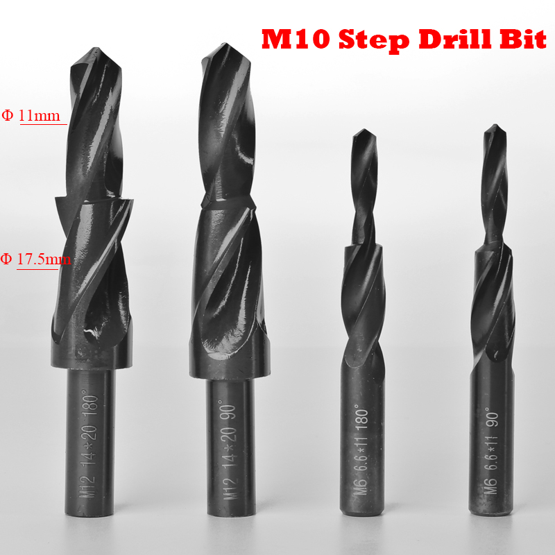 M10 11mm 17.5mm 11-17.5mm Diameter 90 180 Degree High Speed Steel HSS Small Straight Shank Two Subland Step Core Twist Drill Bit