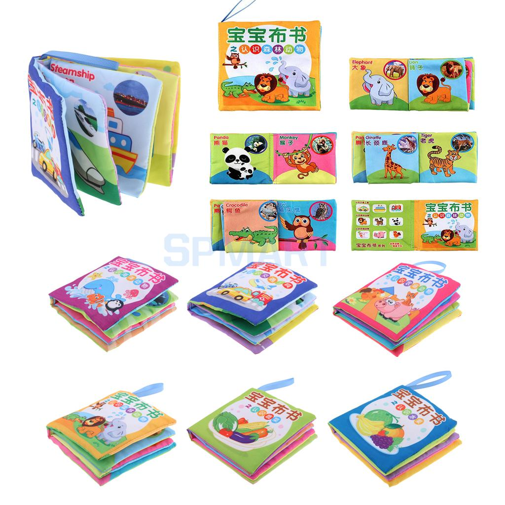 6 Patterns Set Soft Cloth Sound Book Kids Baby Shapes Colors English Chinese Educational Toy Cognize Animals Fruits Vegetables
