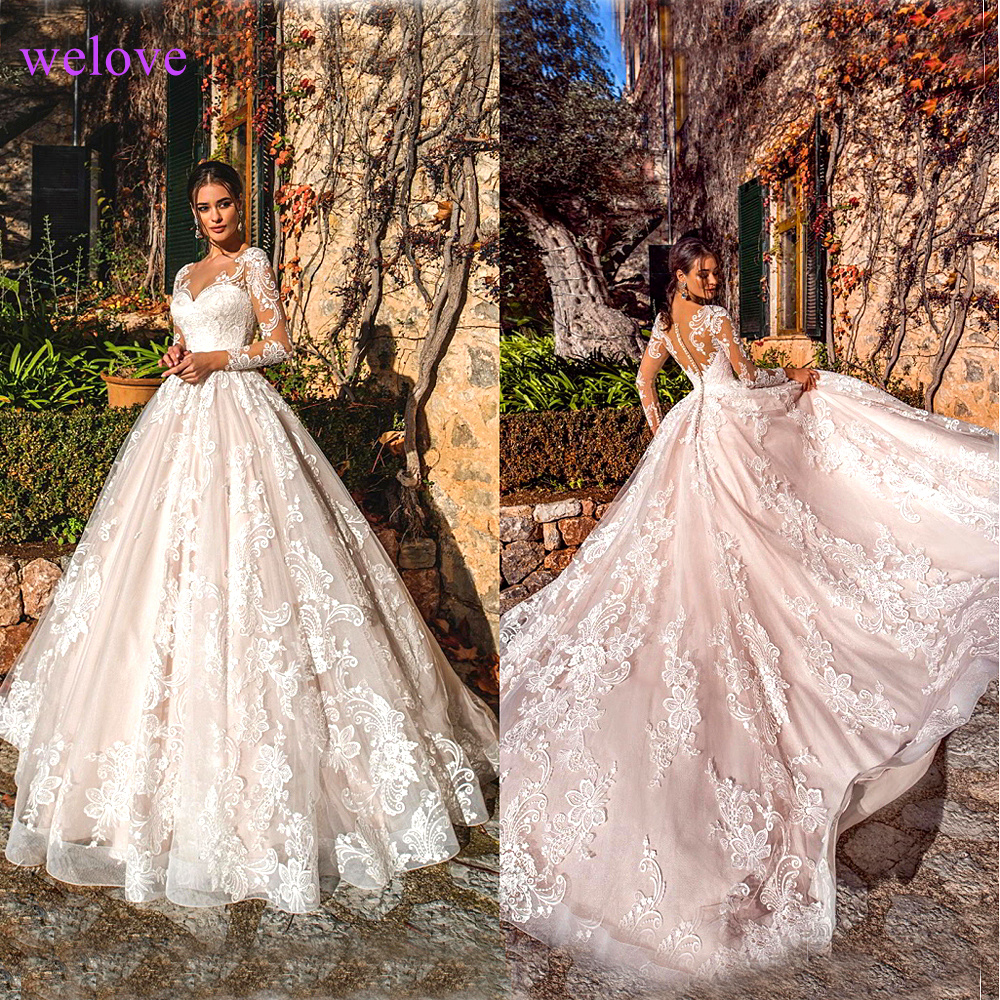 White 2019 Vintage New Arriva Wedding Dresses Long Sleeves Lace Applique  Wedding Gowns Custom Made Bridal Dress  Robe De Mariee