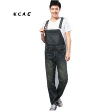 S 4XL 2015 Mens plus size overalls Large size huge denim bib pants Fashion pocket jumpsuits