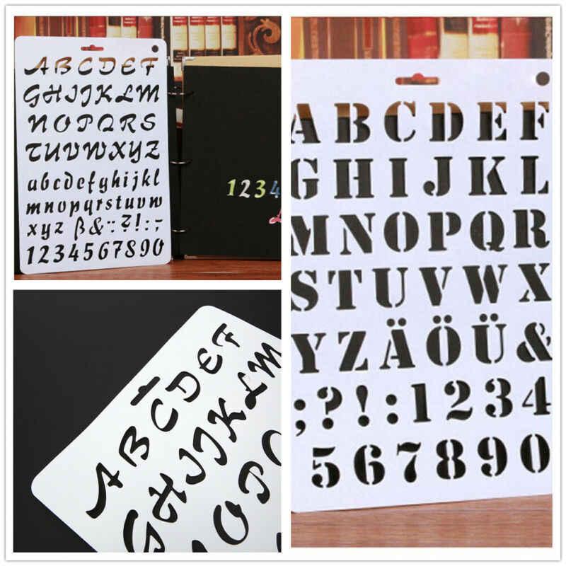 Hot Anak-anak Prasekolah Alfabet Huruf Stensil Plastik Tipis Huruf dan Angka Cat Seni Kerajinan Template Hadiah