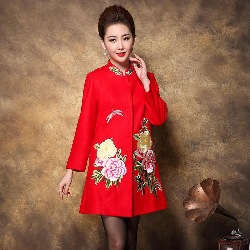 2017 Winter New Elegant Embroidery Women Coat High Quality Chiese Style Mandarin Collar Full Sleeve Lady Long Coat