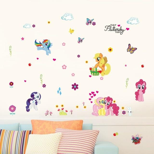 Aliexpresscom Buy 3d Cartoon My Little Pony Flower Wall Sticker