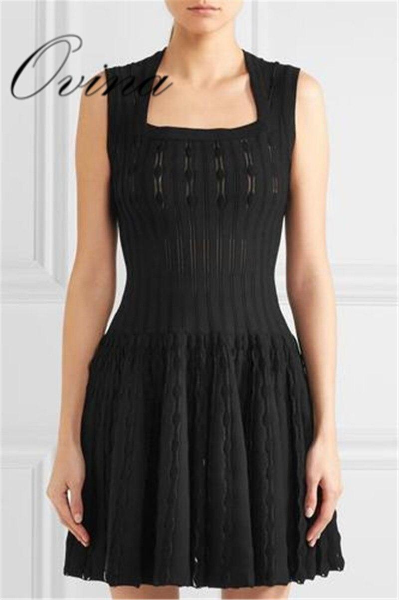 Top qualité Jacquard noir sans manches une ligne plissée rayonne Bandage robe femmes robe de soirée