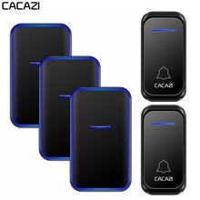 CACAZI Waterproof Wireless Doorbell 1 2 Button 1 2 3 Receiver 300M Remote Intelligent LED Light Home Door Bell Wireless Chime