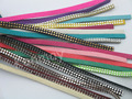 19 Colors Available--10Pcs/Lot 5.0x1.5mm Soft Velvet Leather Cord Suede Lace With Rhinestone Beads